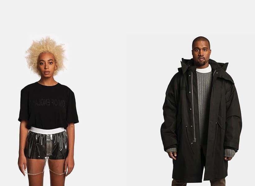 Solange y Kanye West. Fotografía: Helmut Lang/Instagram