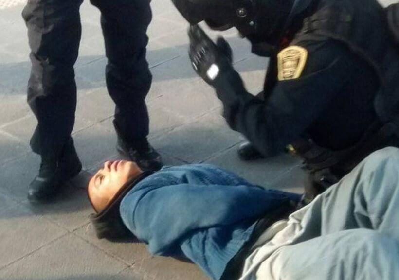 Marco Antonio al momento de su detención. Fotografía: Twitter