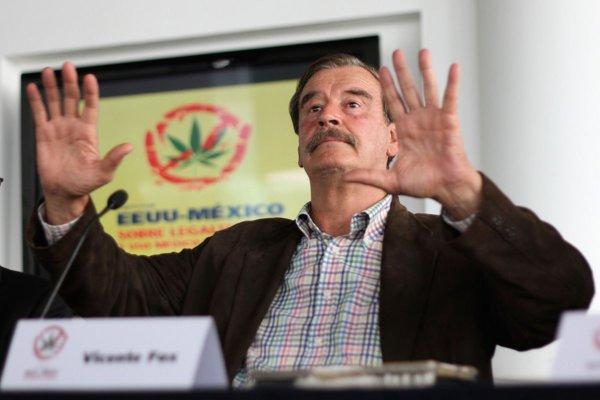 Vicente Fox habla de la legalización del weed en un fotro en Guanajuato. Fotografía: Alfredo Estrella/AFP