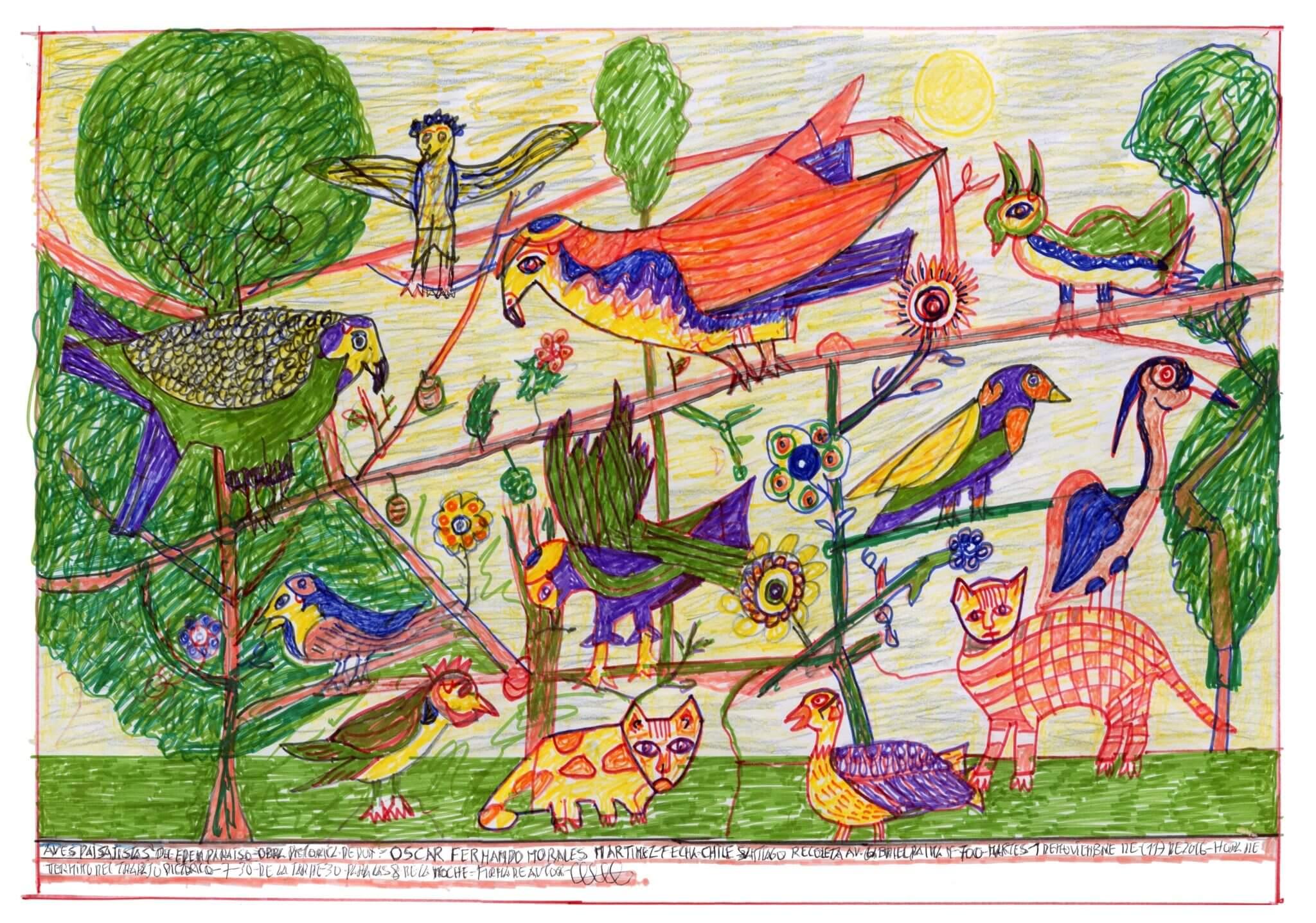 "Oscar Fernando Morales Martínez, ""Aves paisajísticas del Edén Paraíso"" (2016) 27 x 53 cm."