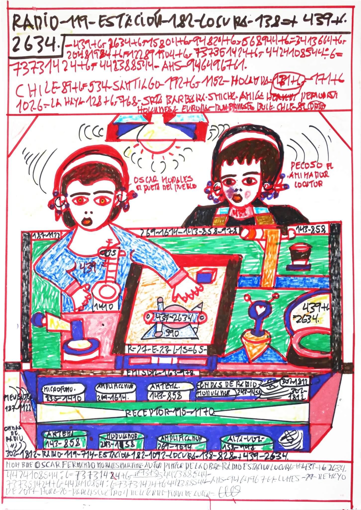 """Oscar Fernando Morales Martínez, """"Radio Estación Locura"""" (2017) 54 x 37 cm."""