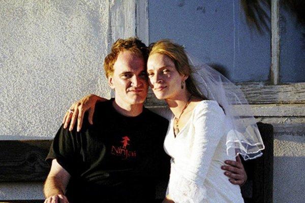 Quentin Tarantino y Uma Thurman en el set de Kill Bill. Fotografía: Miramax