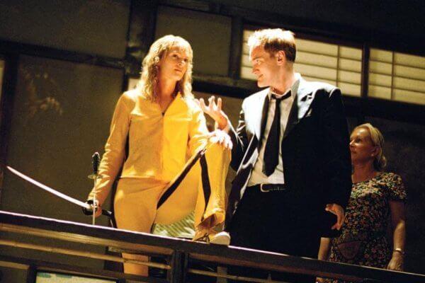 Uma Thurman y Quentin Tarantino durante el rodaje de Kill Bill. Fotografía: Miramax