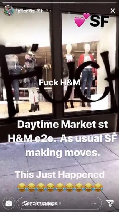 El graffiti que apareció en la vitrina de H&M. Imagen: El Cekis/Instagram