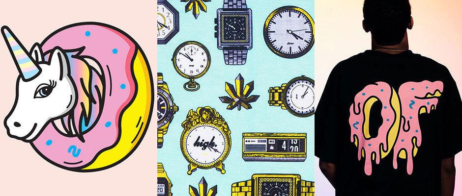 Una muestra de los diseños de Odd Future. Imagen: It's Nice That