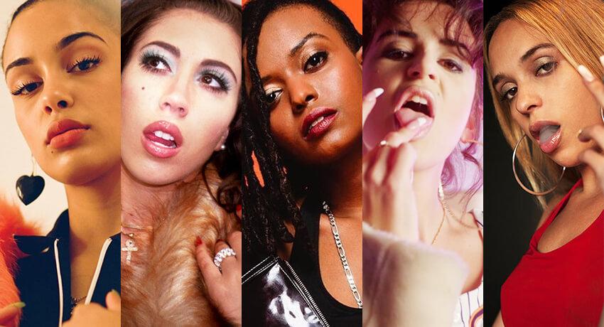 Jorja Smith, Kali Uchis, Kelela, NathY peluso y Bad Gyal. Fotografía: Press/The Fader/Noisey/YouTube/HighSnobiety