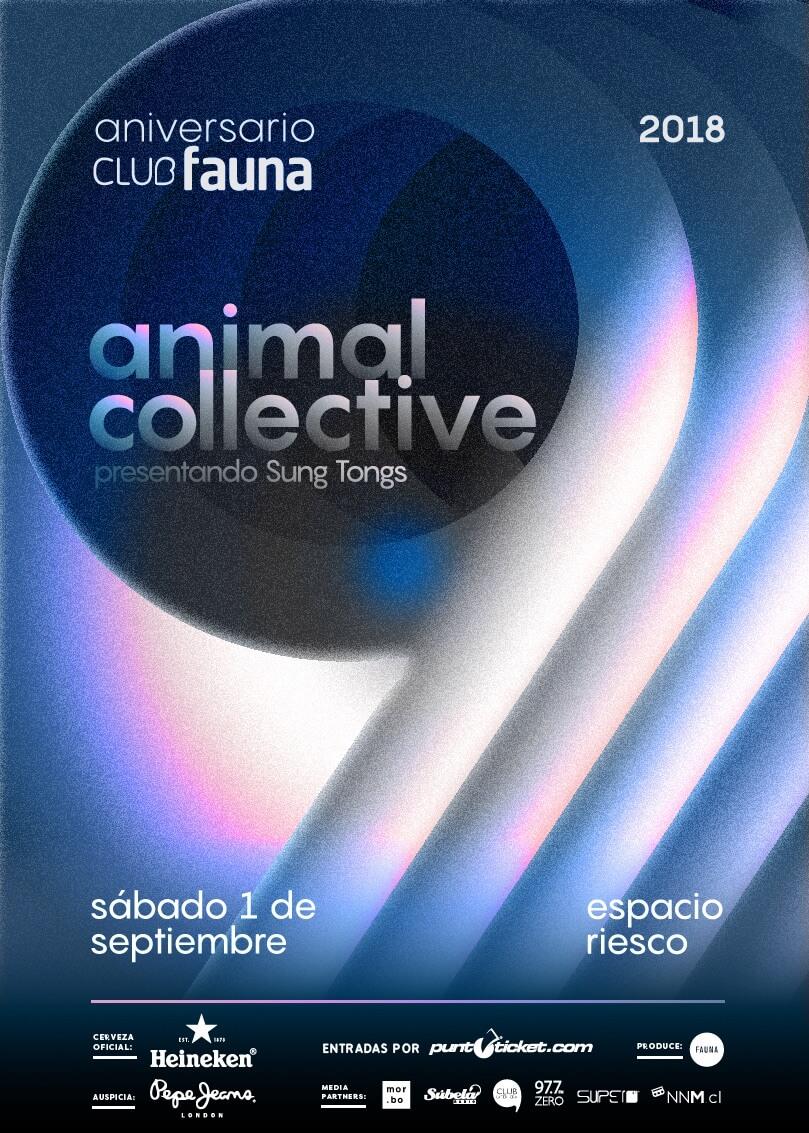 Poster oficial del concierto de Animal Collective en Chile. Imagen: Club Fauna