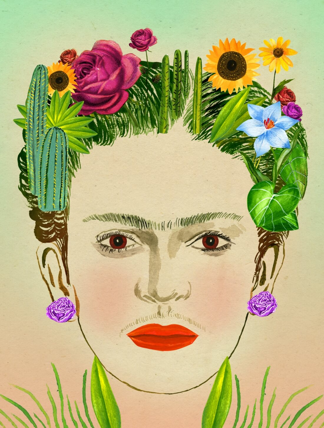 """Frida Kahlo en """"Recipes for Good Luck: The Superstitions, Rituals, and Practices of Extraordinary People"""". Ilustración: Ellen Weinstein"""