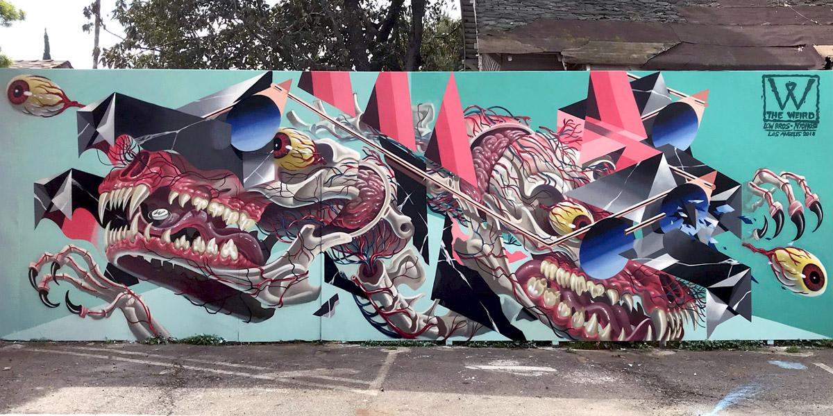 Low Bros: La tensión entre urbanidad y naturaleza en murales deconstruidos y surrealistas