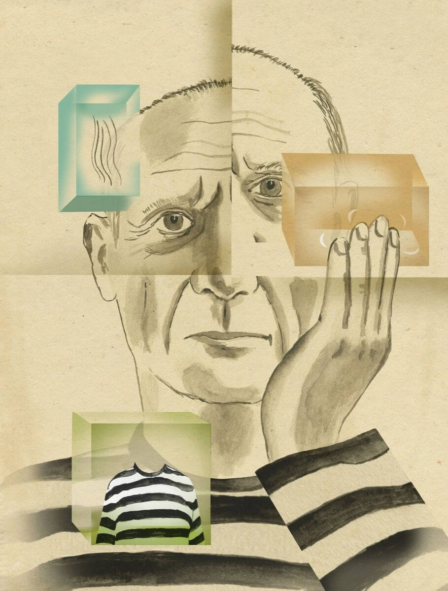 """Pablo Picasso en """"Recipes for Good Luck: The Superstitions, Rituals, and Practices of Extraordinary People"""". Ilustración: Ellen Weinstein"""