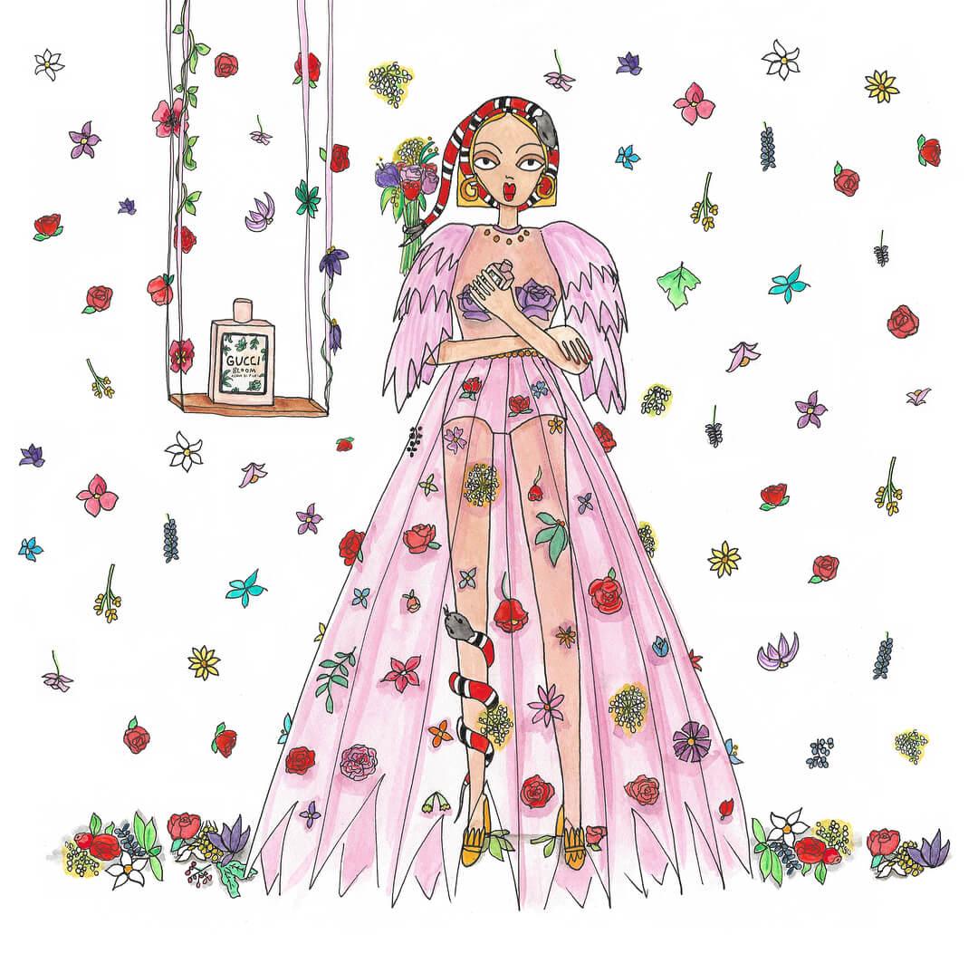 Gucci Bloom Acqua di Fiori. Ilustración: Emma Allegretti