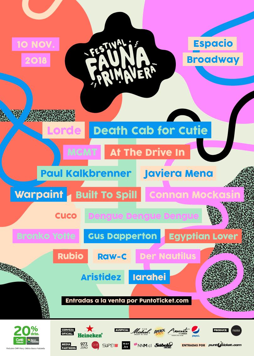 Afiche oficial Fauna Primavera 2018.