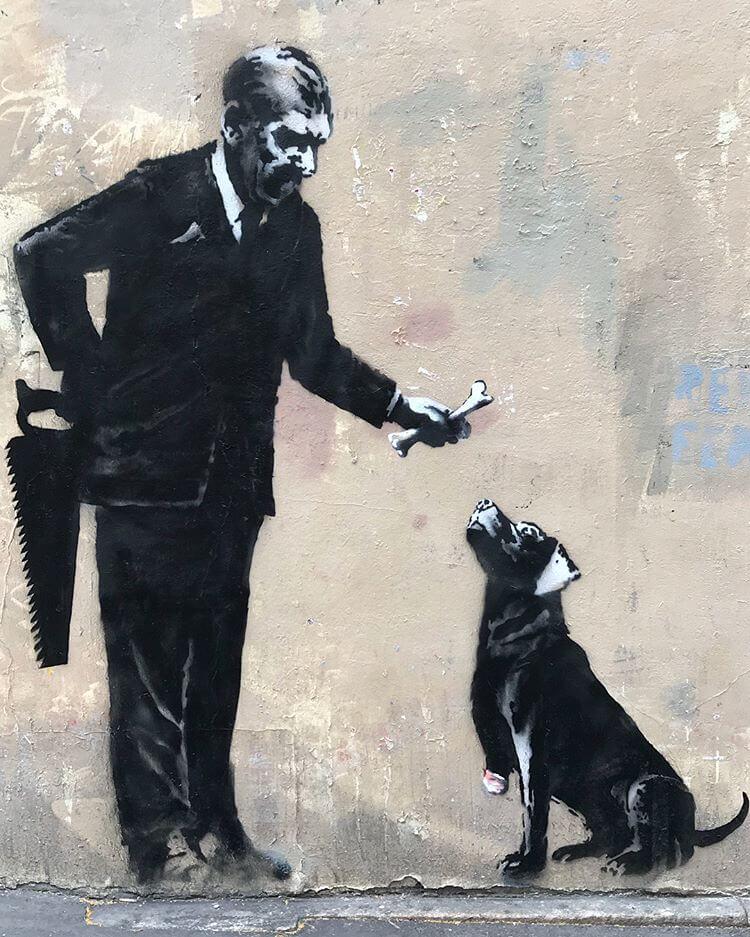 Otra de las nuevas obras de Banksy en la capital francesa. Fotografía: AFP
