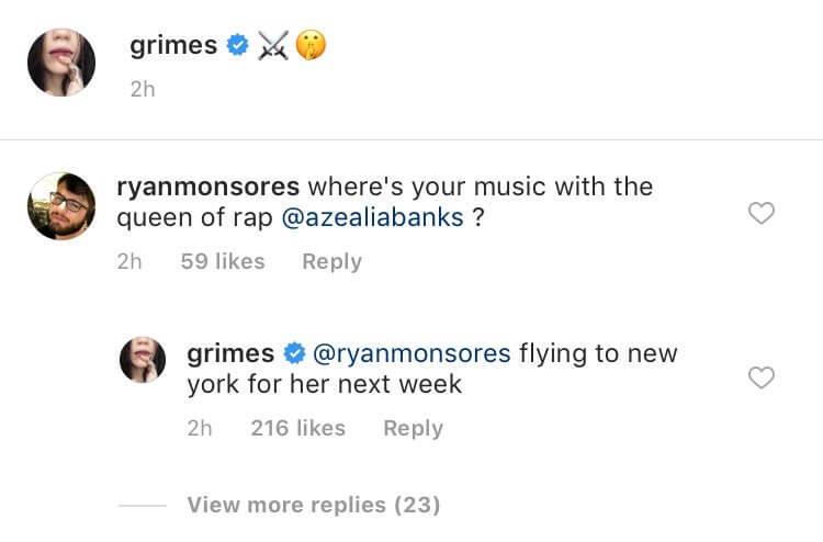 Grimes confiirmando que estará de viaje para cantar junto a Azealia. Imagen: Instagram