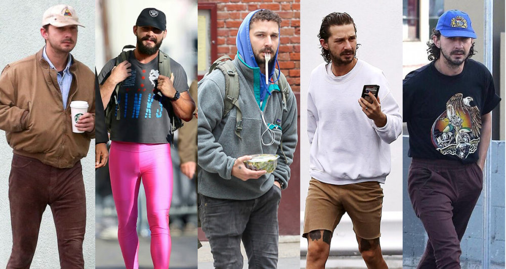 Shia LaBeouf. Fotografía: Splash/Wenn/@shiasoutfits/Splash/Getty