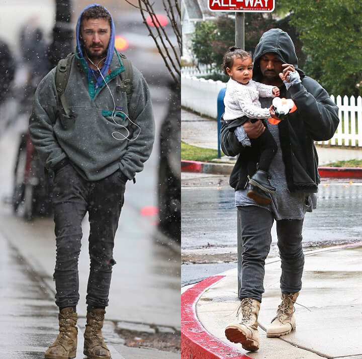 Shia LaBeouf y Kanye West. Imagen: Splash/Getty