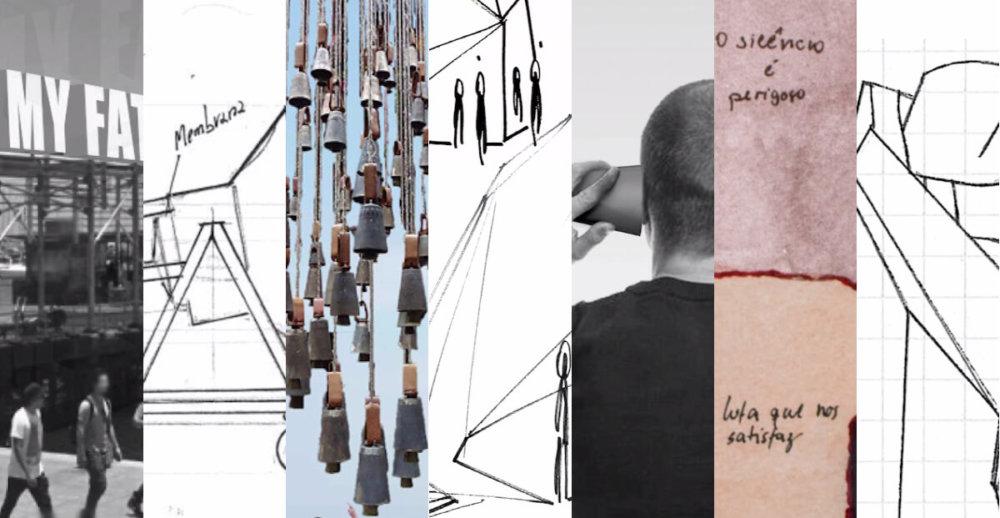 Collage de los sketches de las obras a presentarse en el Muelle de Antofagasta en SACO7. Imágenes cortesía Proyecto SACO
