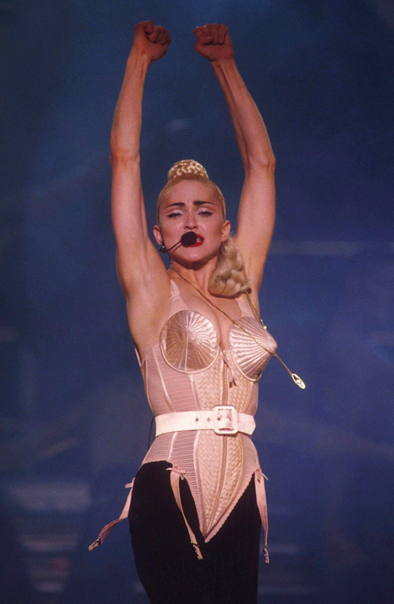 Madonna en su Blonde Ambition Tour de 1990. Fotografía: Archive/Getty