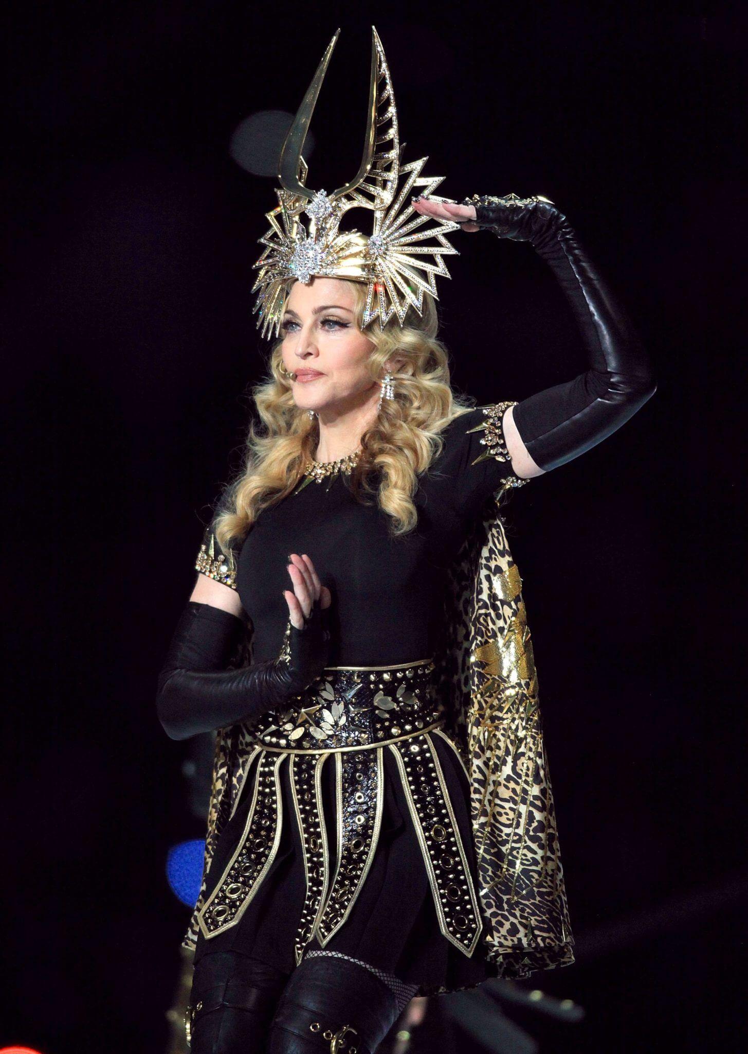 Madonna durante su show de medio tiempo en el Super Bowl del año 2012. Fotografía: Getty Images