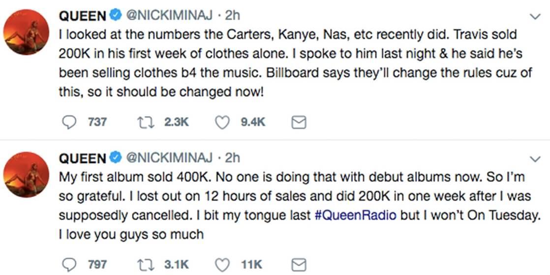 """Los tweets de Nicki sobre el """"robo"""" del número 1 de su disco. Imagen: Twitter/Nicki Minaj"""