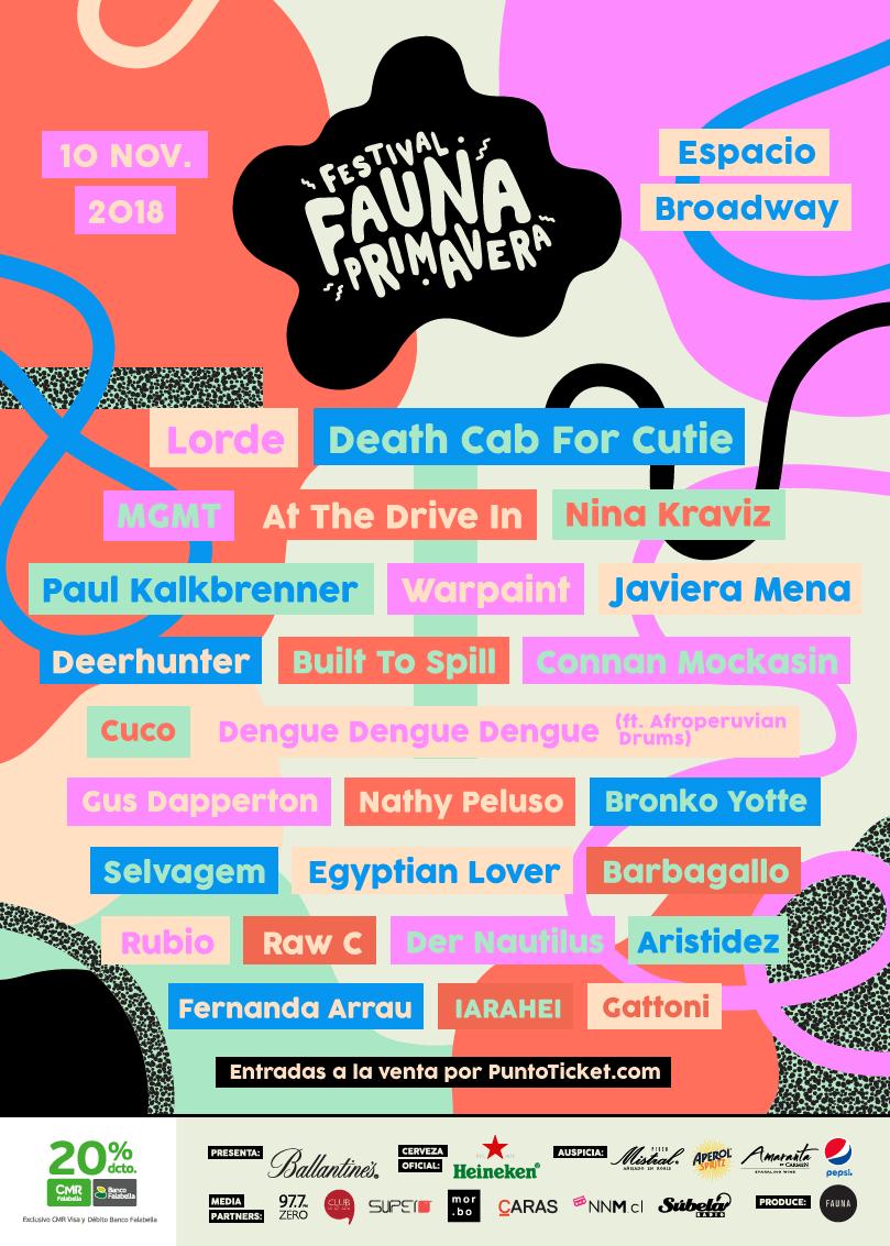 Afiche lineup final Fauna Primavera 2018. Imagen: Fauna Producciones