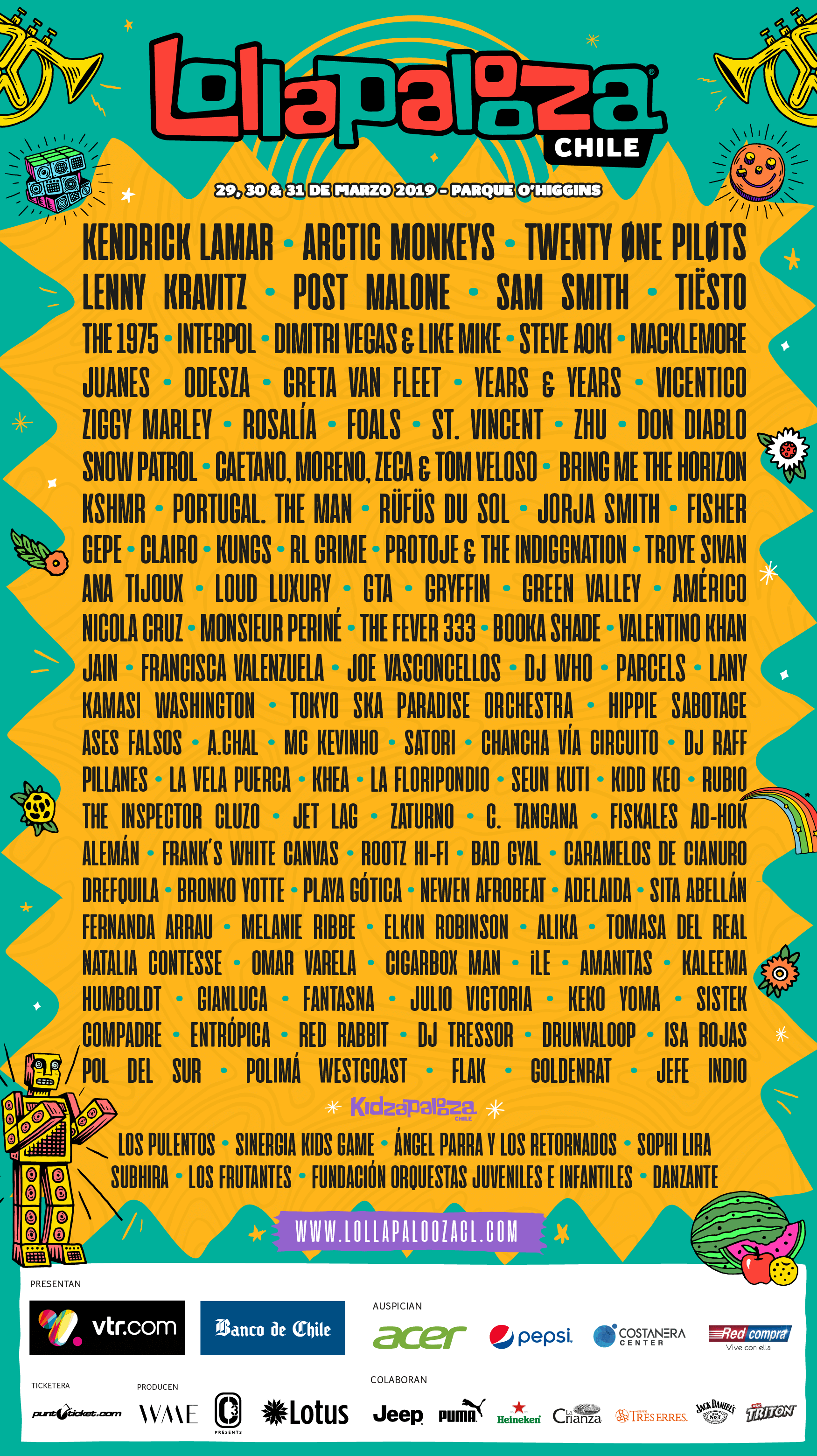Lineup oficial Lollapalooza Chile 2019