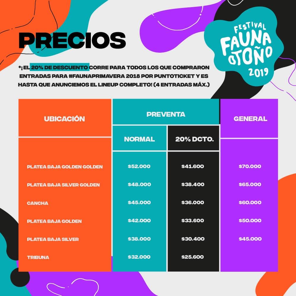 Precios de los boletos de Fauna Otoño 2019.