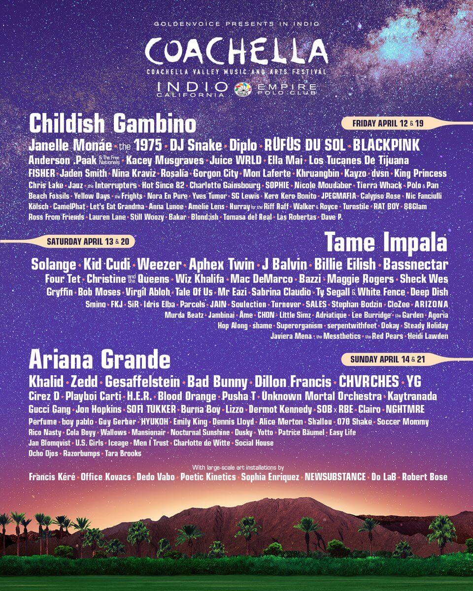 Lineup oficial del festival de Coachella 2019