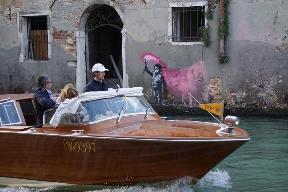 El supuesto Banksy en Venecia. Fotografía: Andrea Merola/EPA