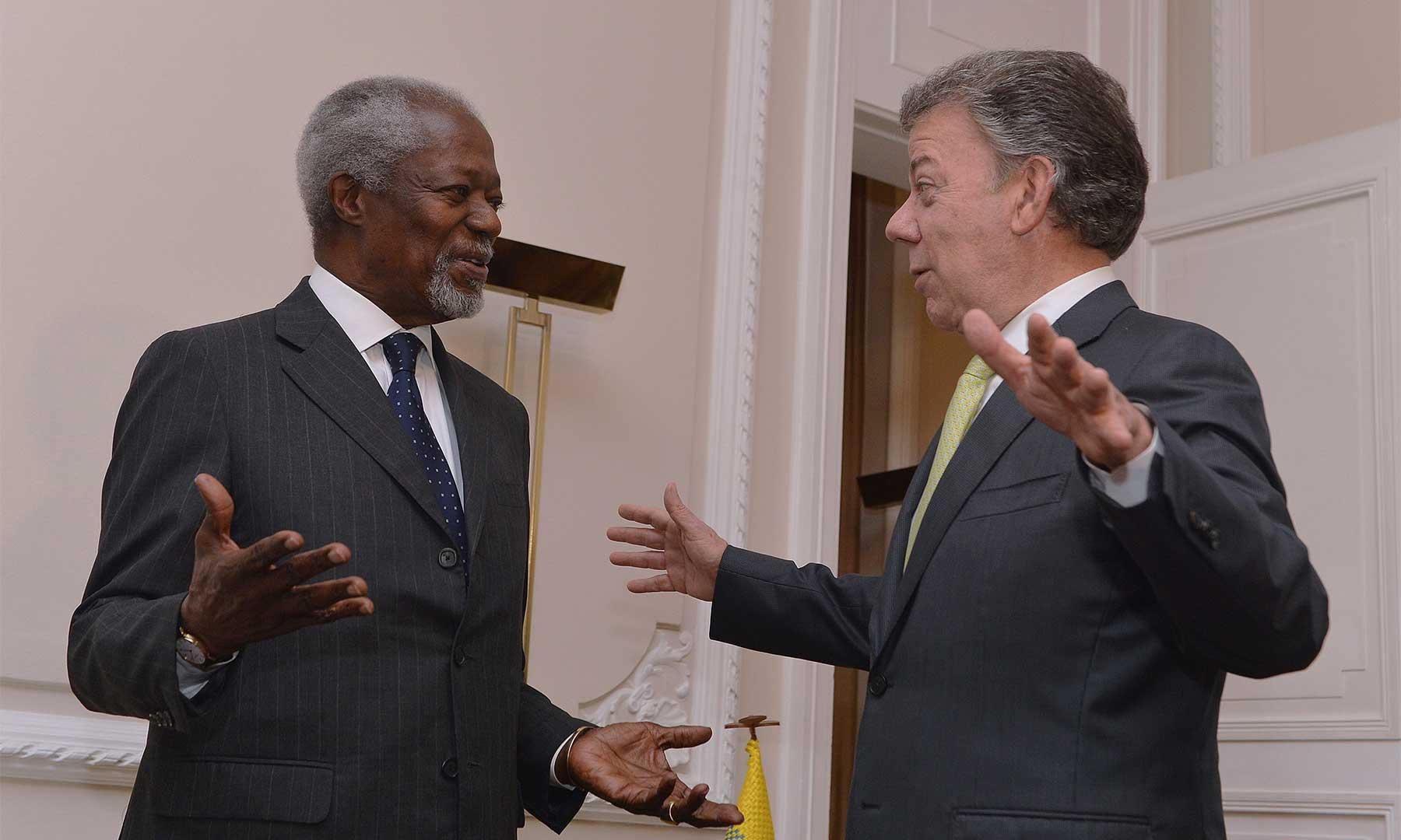 Kofi Anan y José Manuel Santos. Fotografía: La Gran Noticia