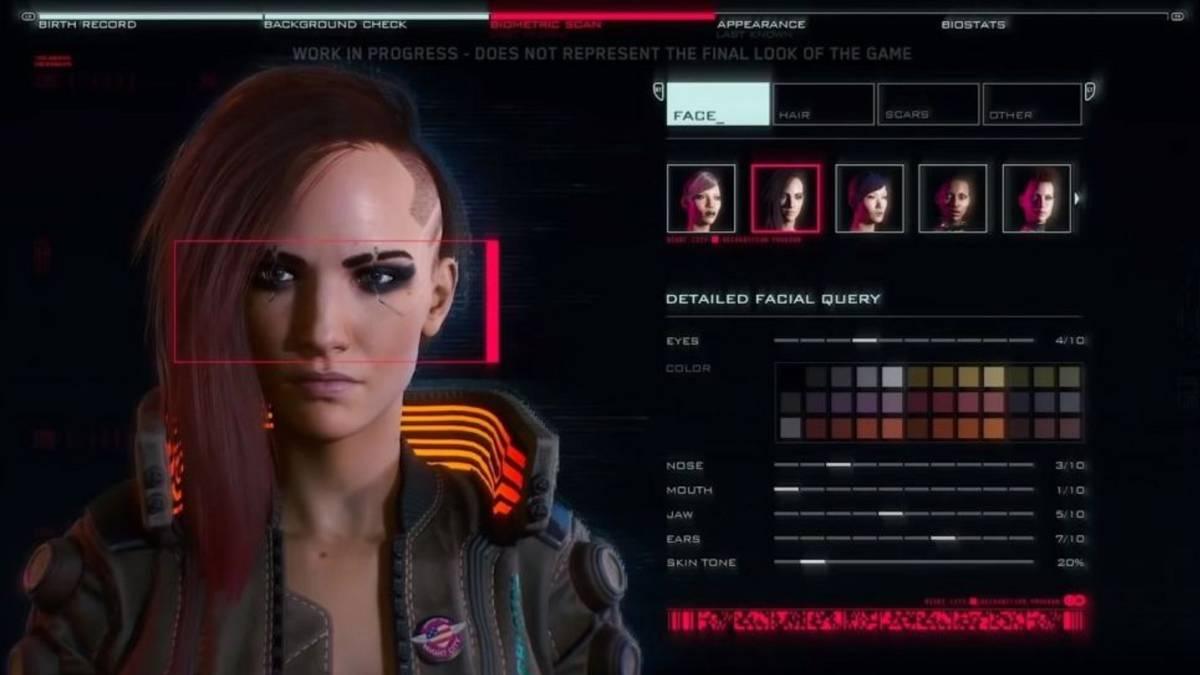 """Ejemplo de las opciones de personalización en """"Cyberpunk 20177"""". Fotografía: AS"""