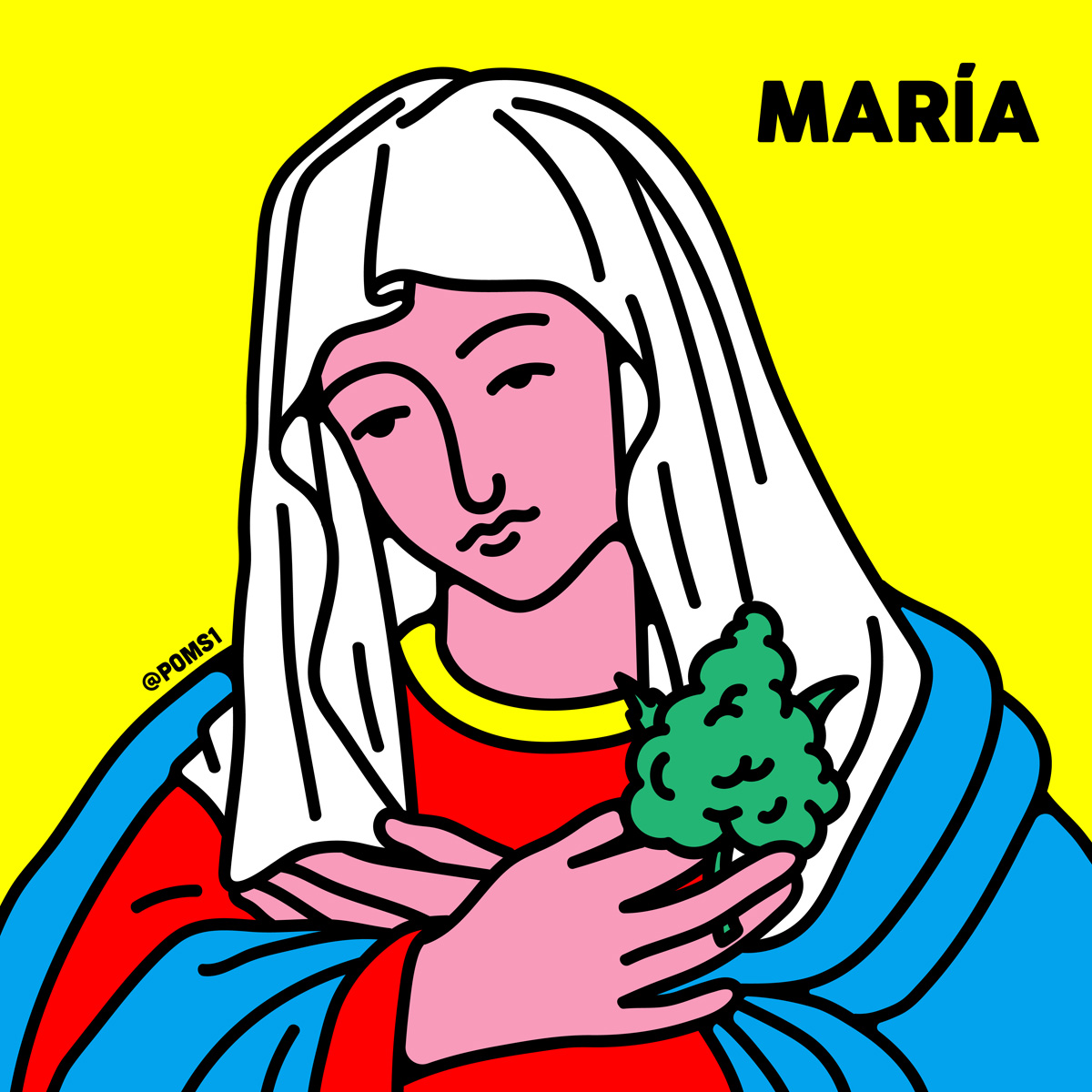 """""""María"""". Ilustración: Poms"""