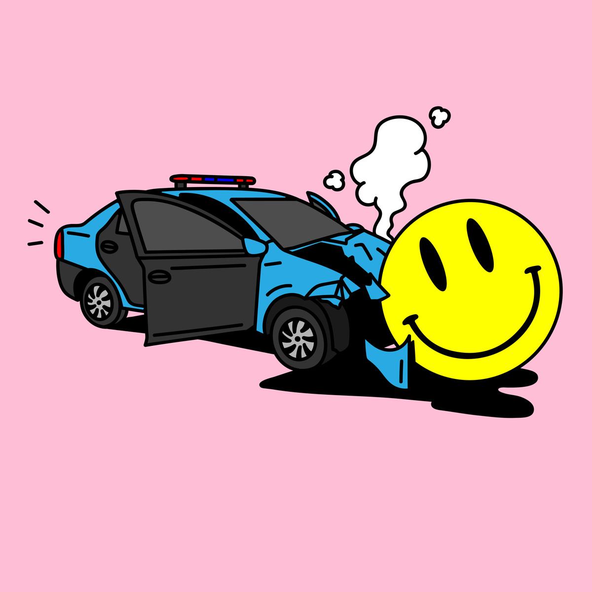 """""""Patrullero y Smiley"""". Ilustración: Poms"""