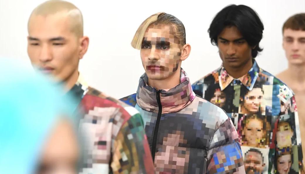 London Fashion Week: Xander Zhou pixeló a sus modelos y sus piezas como protesta a la vigilancia digital