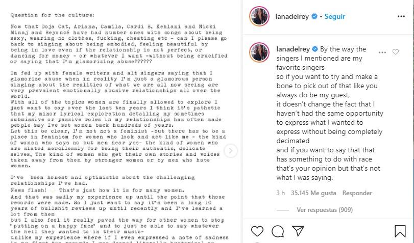 Comentario de Lana en su post. Fotografía: Instagram @lanadelrey