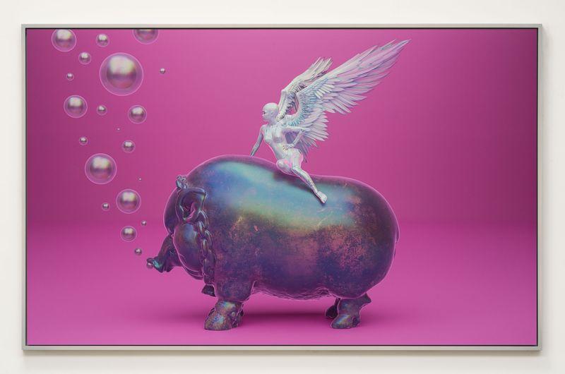 """""""WarNymph Prototype #5: Pigly Thee Familiar"""", 2020. Fotografía: Grimes y Maccarone Gallery"""