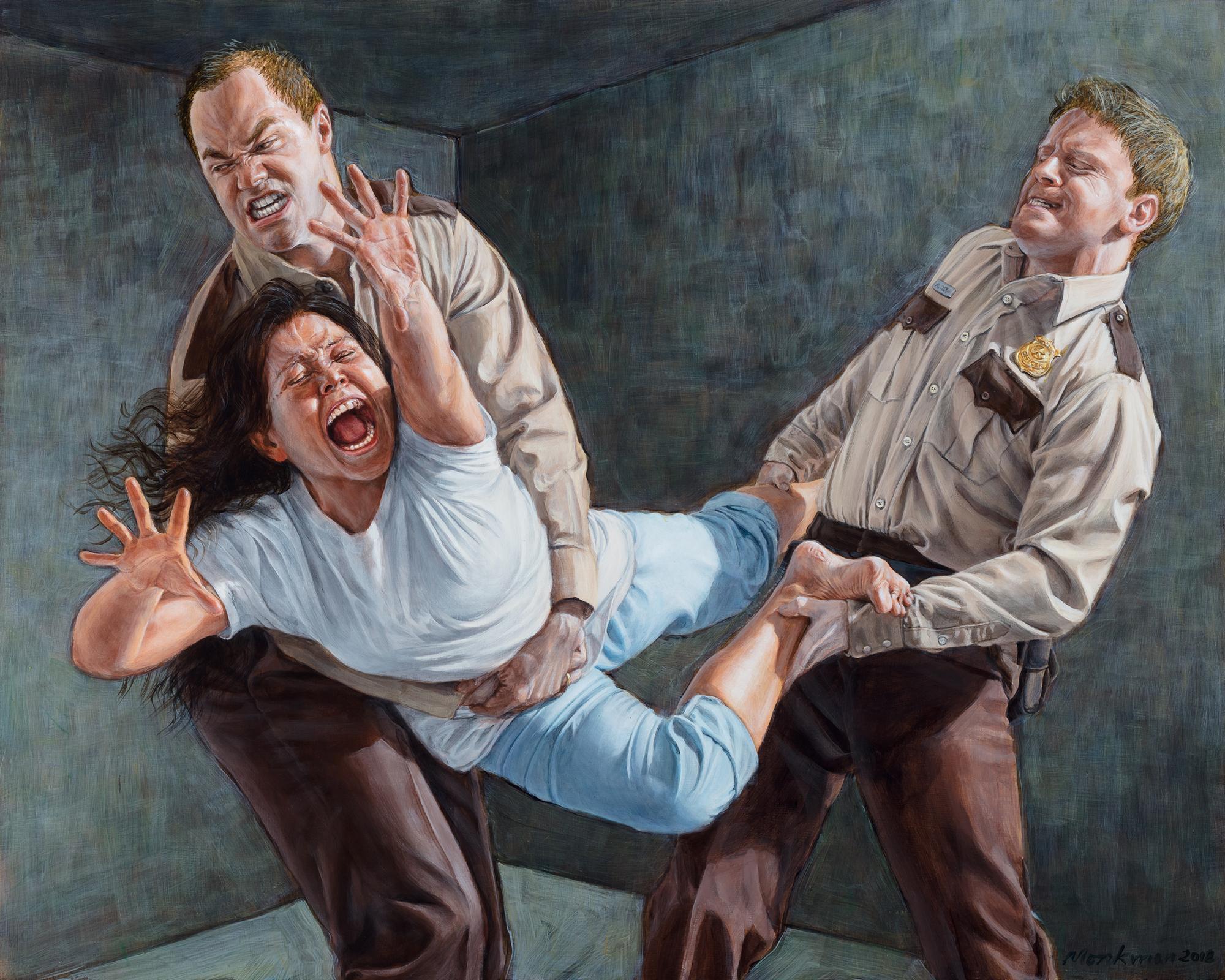 """""""Study for Two Figures Restraining a Third"""", de Kent Monkman"""